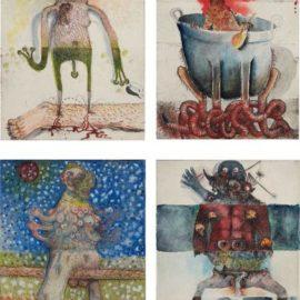 Jake and Dinos Chapman-Four Works: (I) Dagger Legs I; (II) Mosquito In A Bath Tub I; (III) Milking Boobs I; (IV) Urinating I-2000