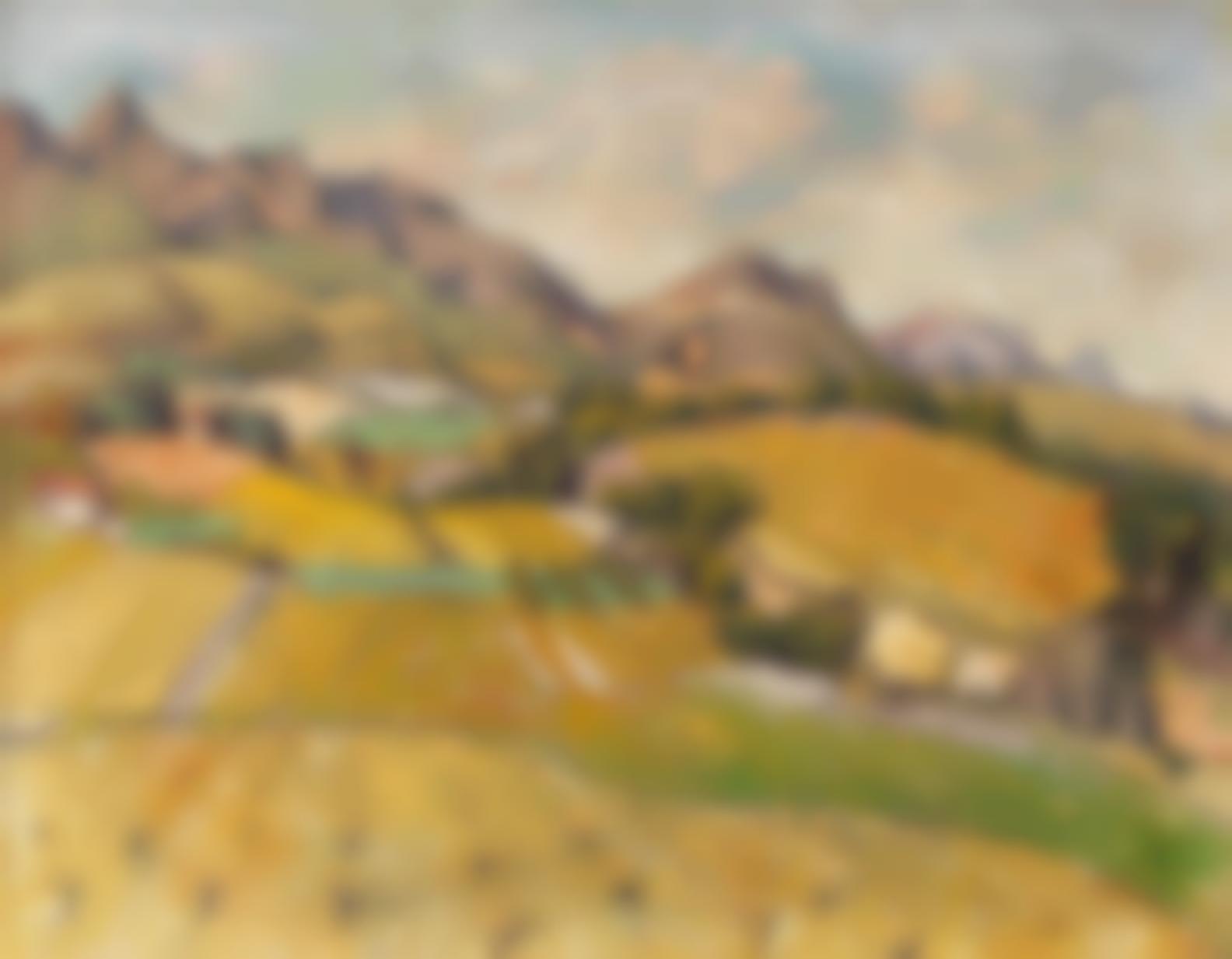 Gregoire Johannes Boonzaier - Wellington Landscape (Recto); Still Life Of Lilies (Verso)-1979