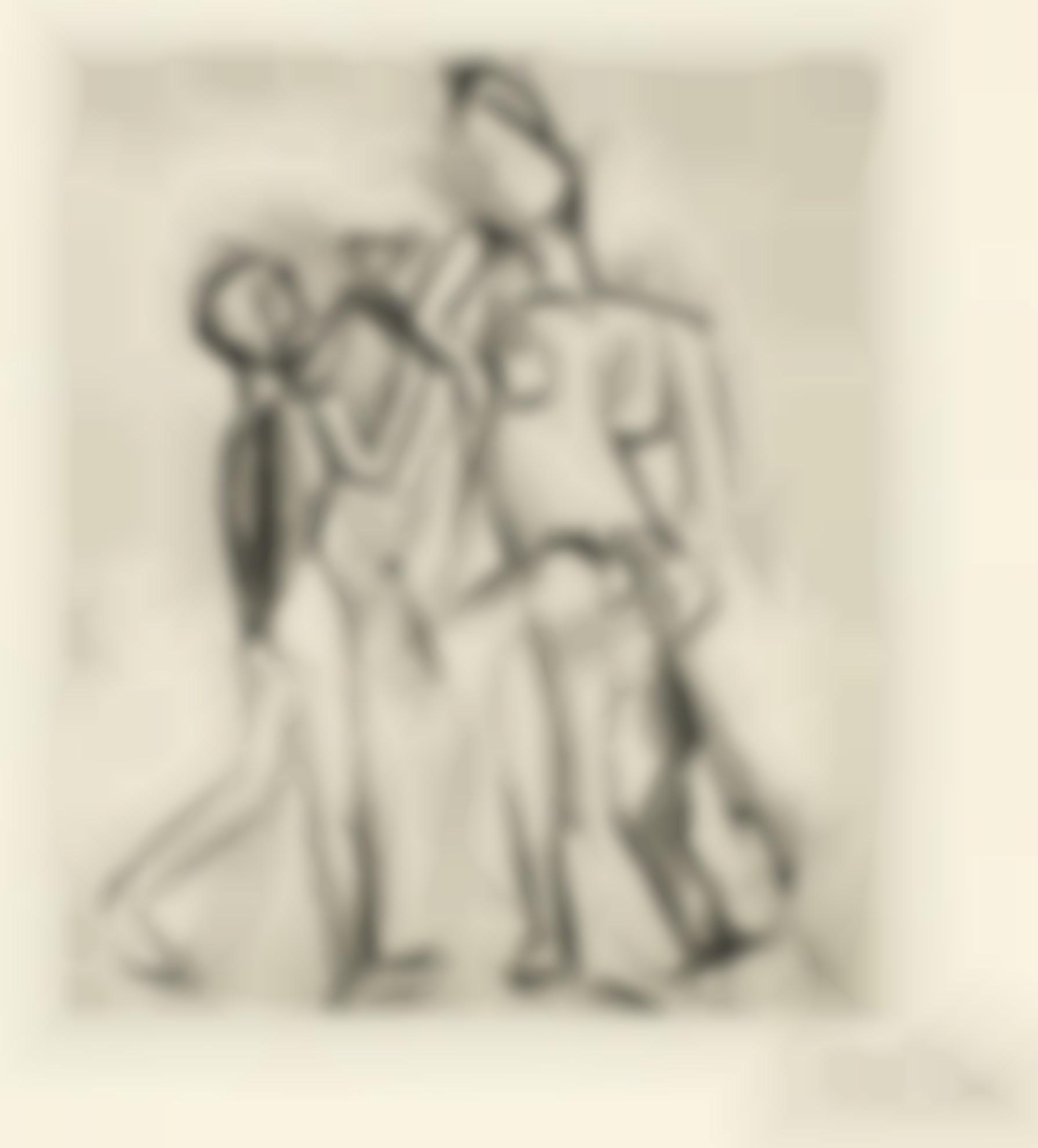 Pablo Picasso-Deux Figures Nues: Femme A La Guitare Et Garcon A La Coupe (B. 17; Ba. 21)-1909