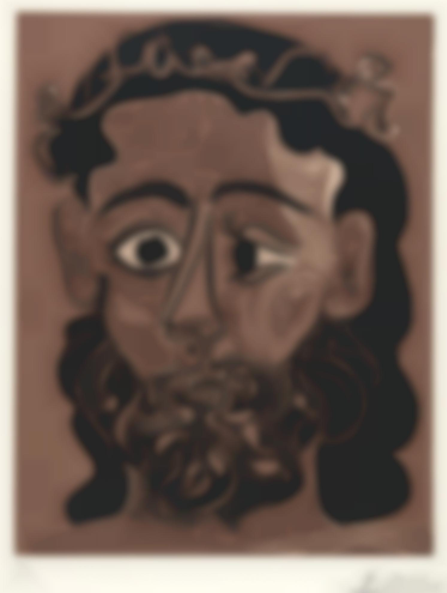 Pablo Picasso-Homme Barbu Couronne De Feuilles De Vigne (B. 1088; Ba. 1308; Pp. L-129)-1962