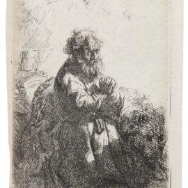Rembrandt van Rijn-St Jerome Kneeling In Prayer, Looking Down (B., Holl. 102; New Holl. 142; H. 140)-1635
