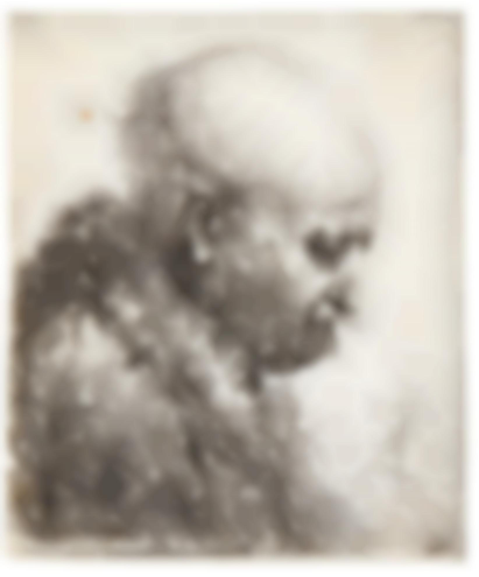 Rembrandt van Rijn-Bald Headed Man In Profile Right: Small Bust, The Artists Father (?) (B., Holl. 294; New Holl. 61; H. 24)-1630