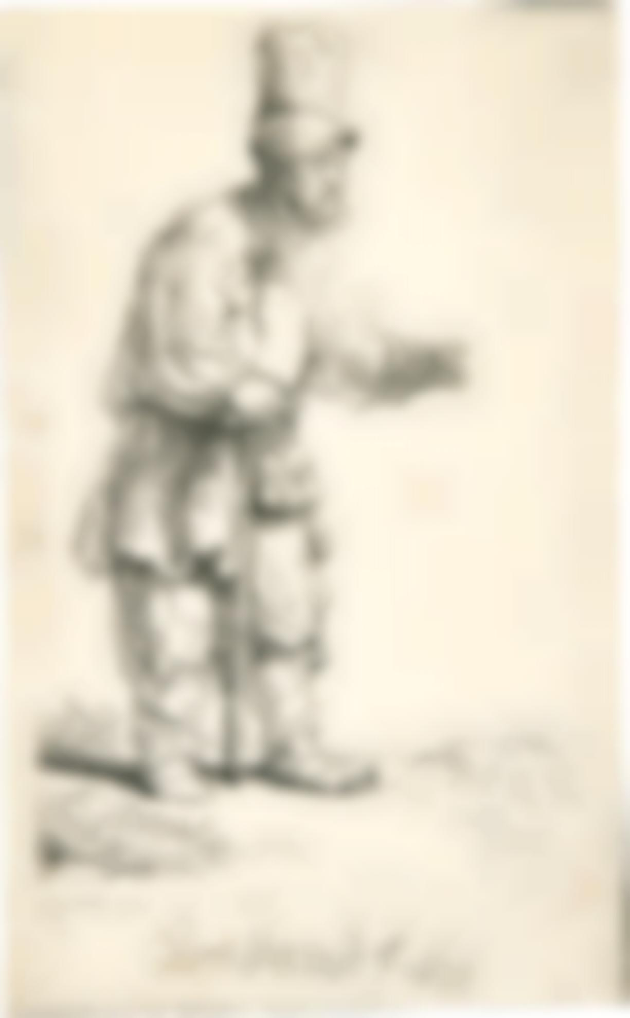 Rembrandt van Rijn-A Peasant In A High Cap, Standing Leaning On A Stick (B., Holl. 133; New Holl. 178; H. 164)-1639
