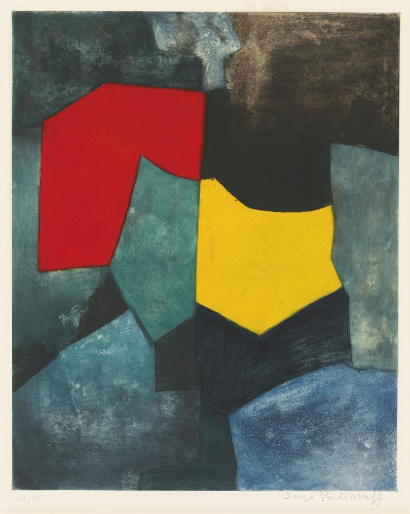 Serge Poliakoff-Composition Rouge, Verte, Jaune Et Bleue-1964