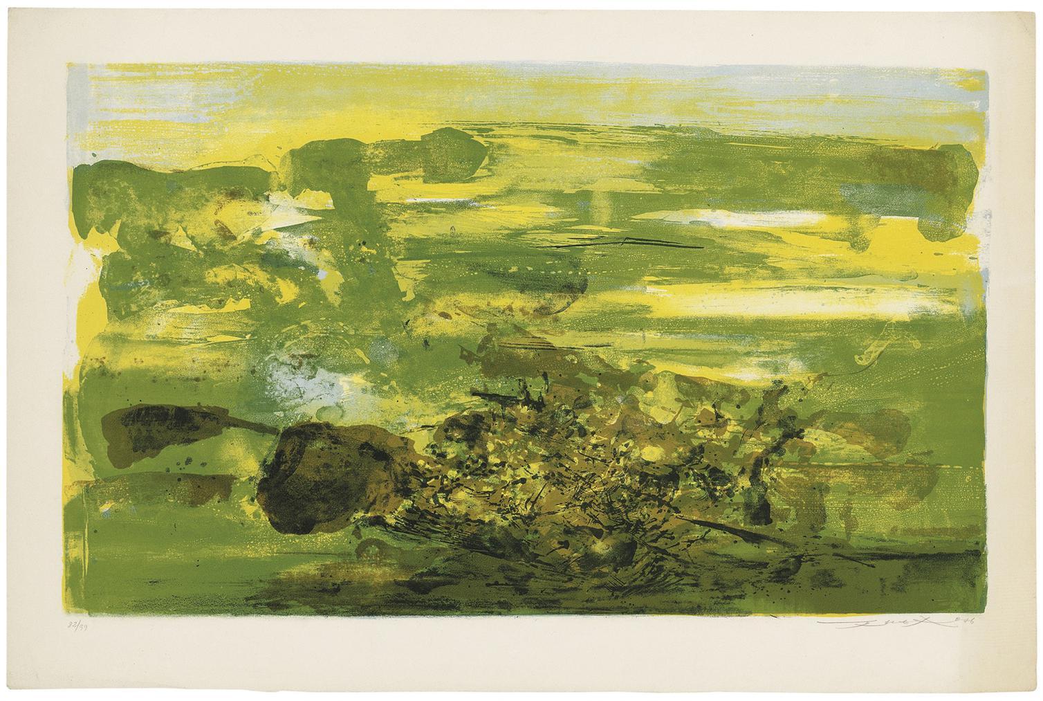 Zao Wou-Ki-Two Plates From: A La Gloire De Limage Et Art Poetique-1976