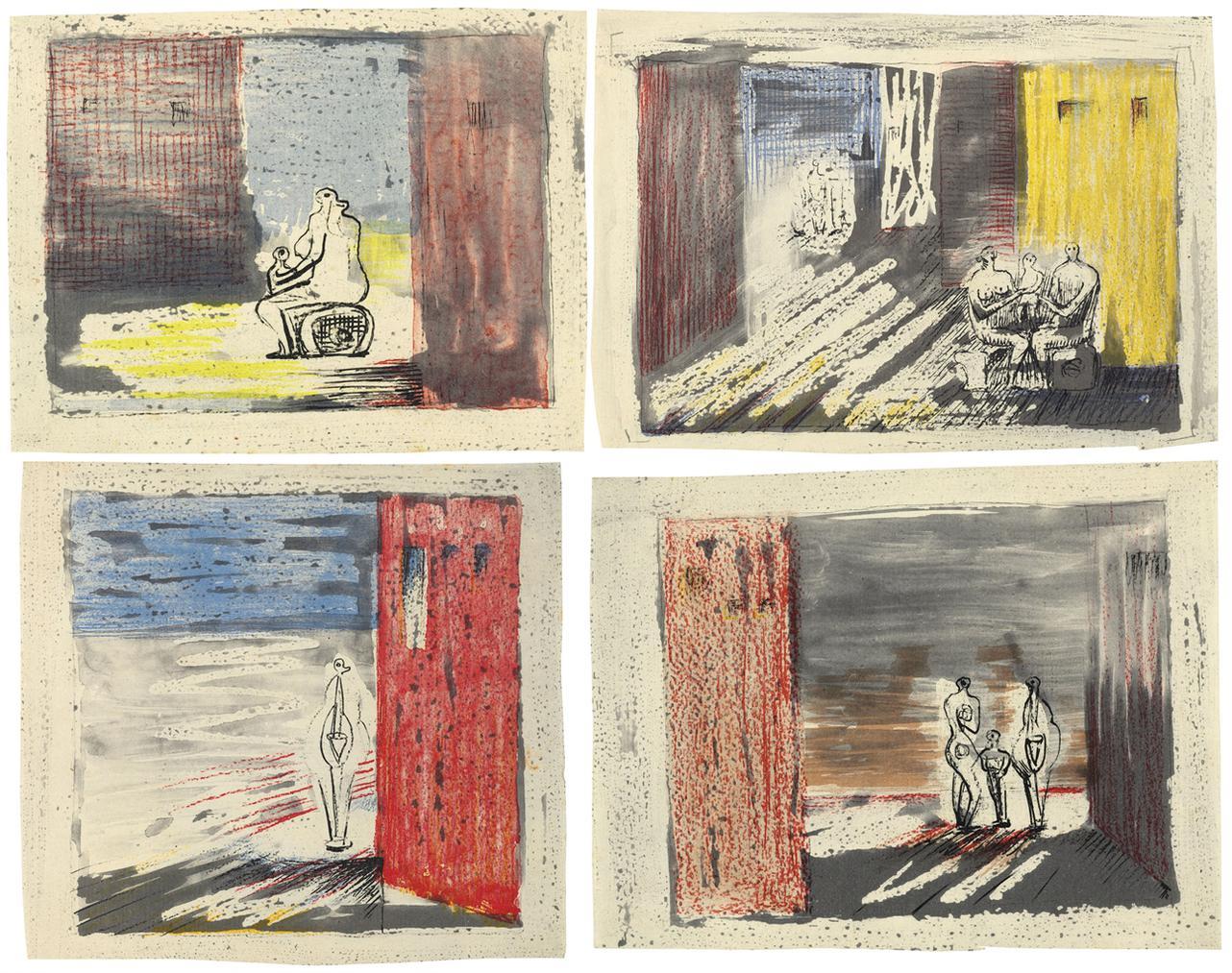 Henry Moore-Figures In Settings-1949