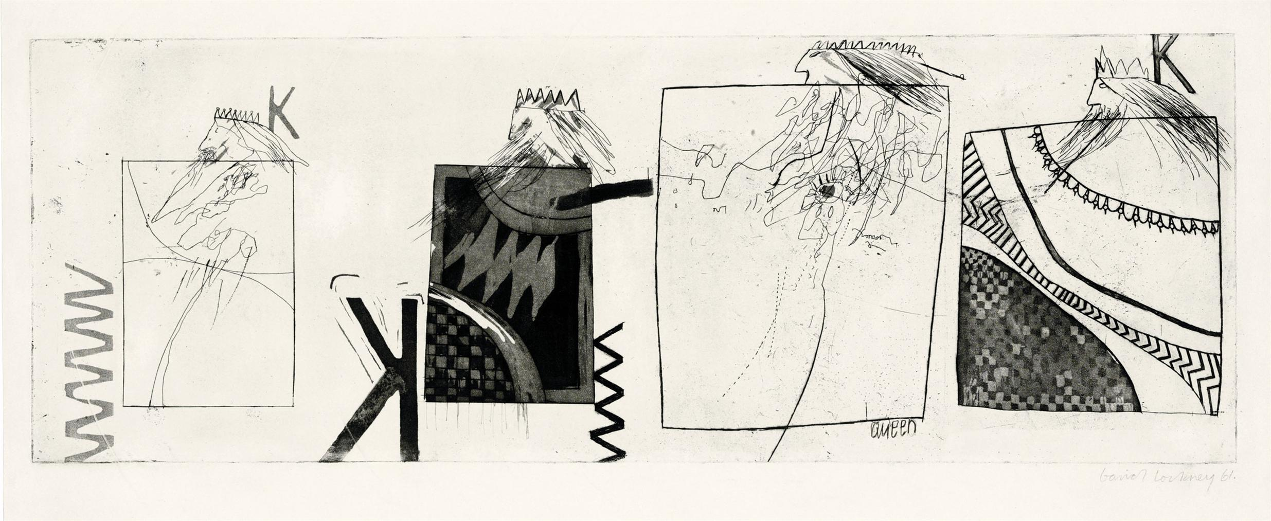 David Hockney-Three Kings And A Queen-1961