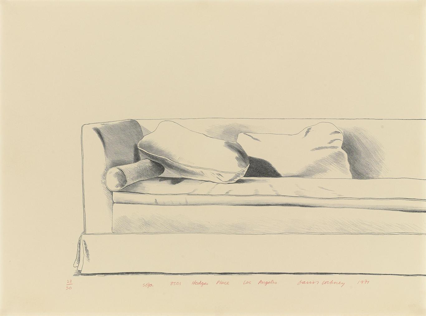 David Hockney-Sofa, 8501 Hedges Place, Los Angeles-1971