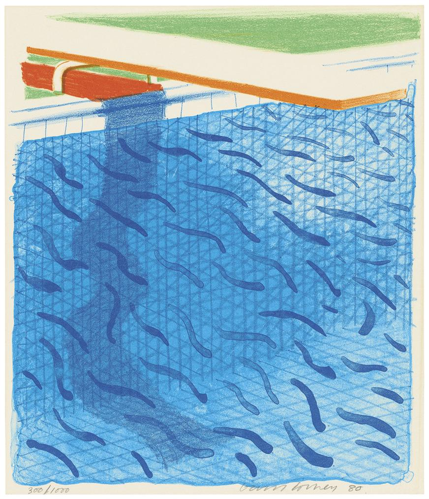David Hockney-Pool Made With Paper And Blue Ink For Book-1980