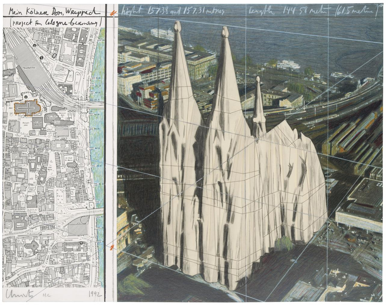 Christo and Jeanne-Claude-Mein Kolner Dom, Wrapped (Project For Cologne - Germany)-1992