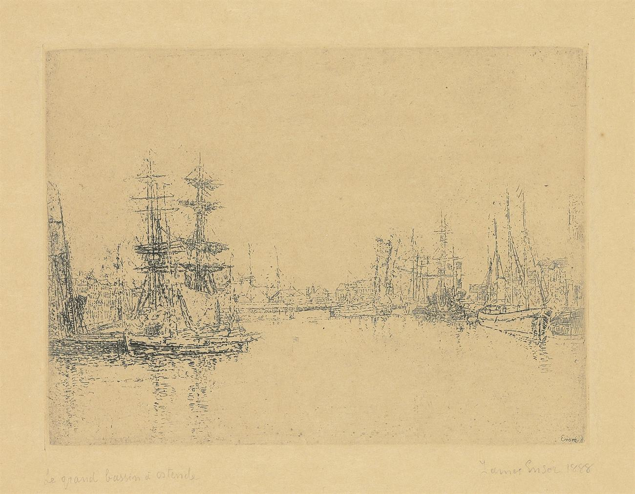 James Ensor-Le Grand Bassin Dostende (The Main Dock, Ostend); Les Barques echouees (Grounded boats) (E. 49)-1888