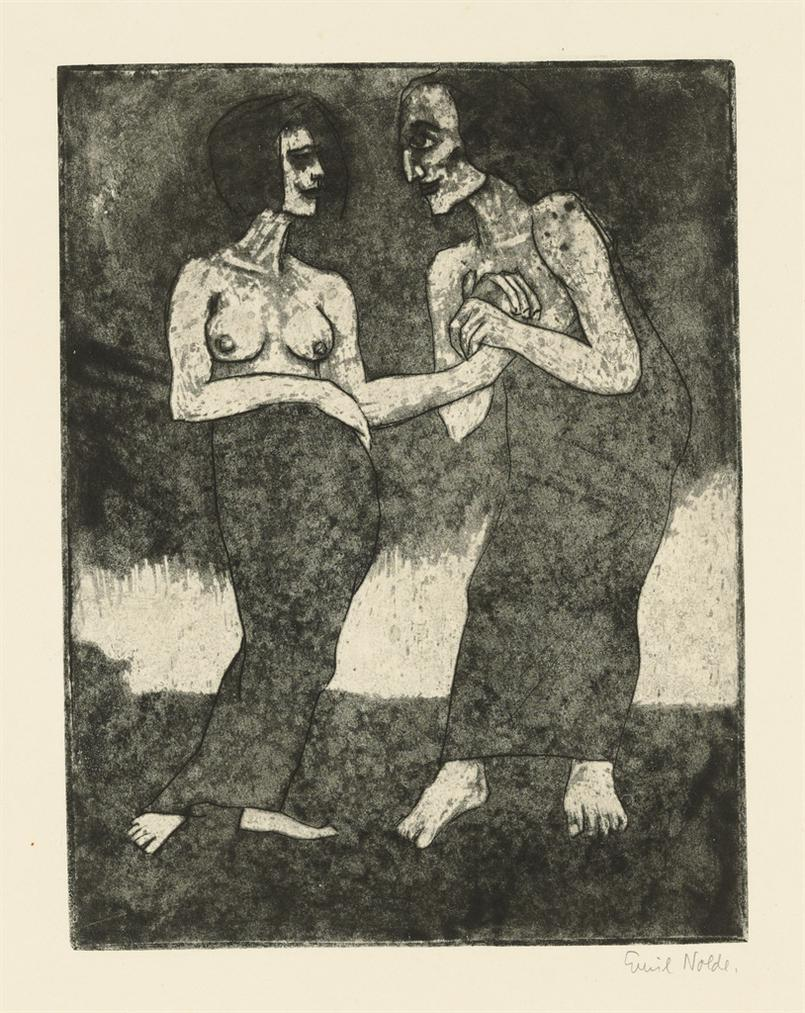 Emil Nolde-Mann Und Madchen-1918