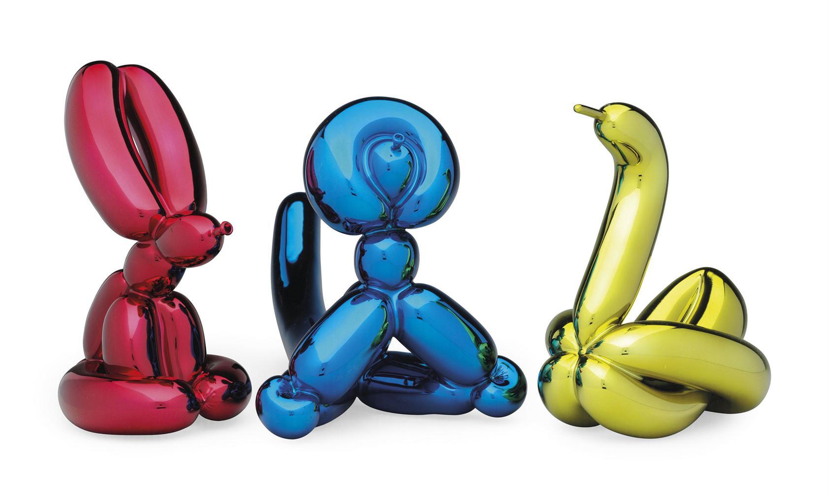 Jeff Koons-Balloon Rabbit (Red), Balloon Monkey (Blue) And Balloon Swan (Yellow)-2017