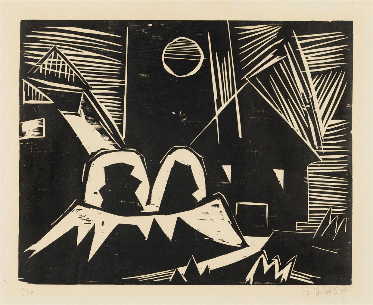 Karl Schmidt-Rottluff-Hauser Und Mond-1919