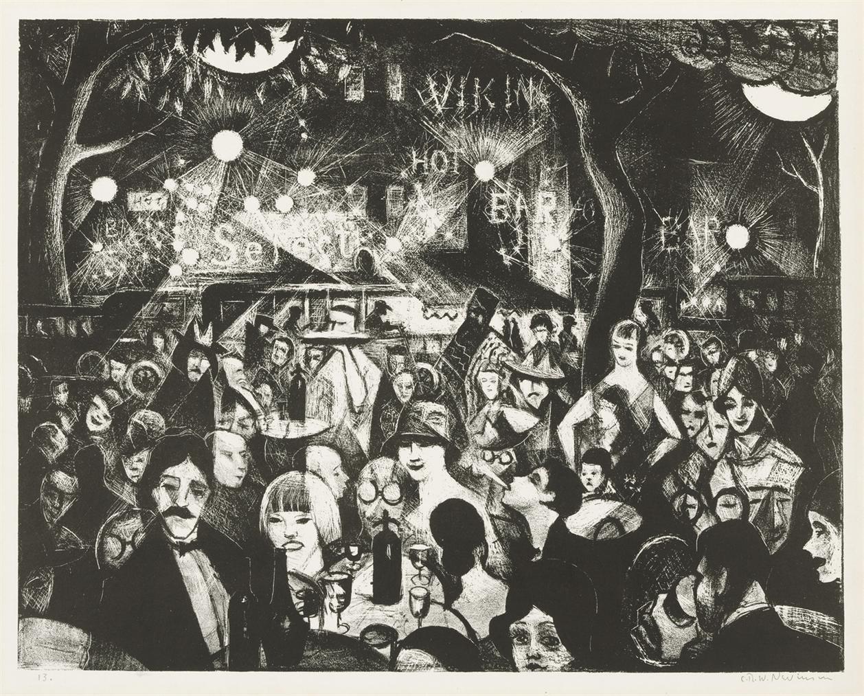 Christopher R. W. Nevinson-Sur La Terrasse, Parnasse-1920