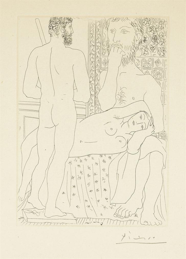 Pablo Picasso-Sculpteur, Modele Couche Et Sculpture, From: La Suite Vollard-1933