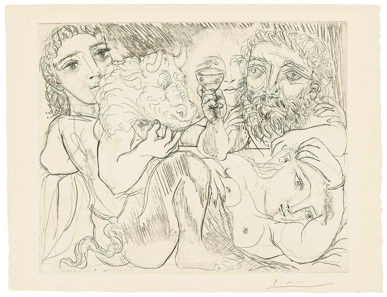 Pablo Picasso-Minotaur, Buveur Et Femmes, From: La Suite Vollard-1933