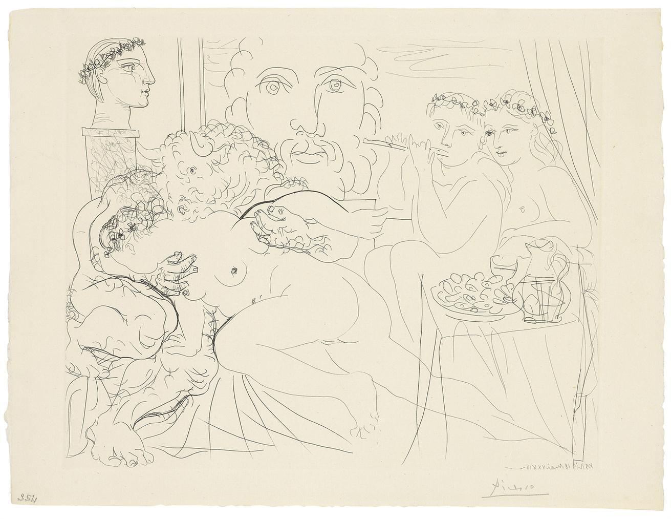 Pablo Picasso-Minotaure Caressant Une Femme, From: La Suite Vollard-1933