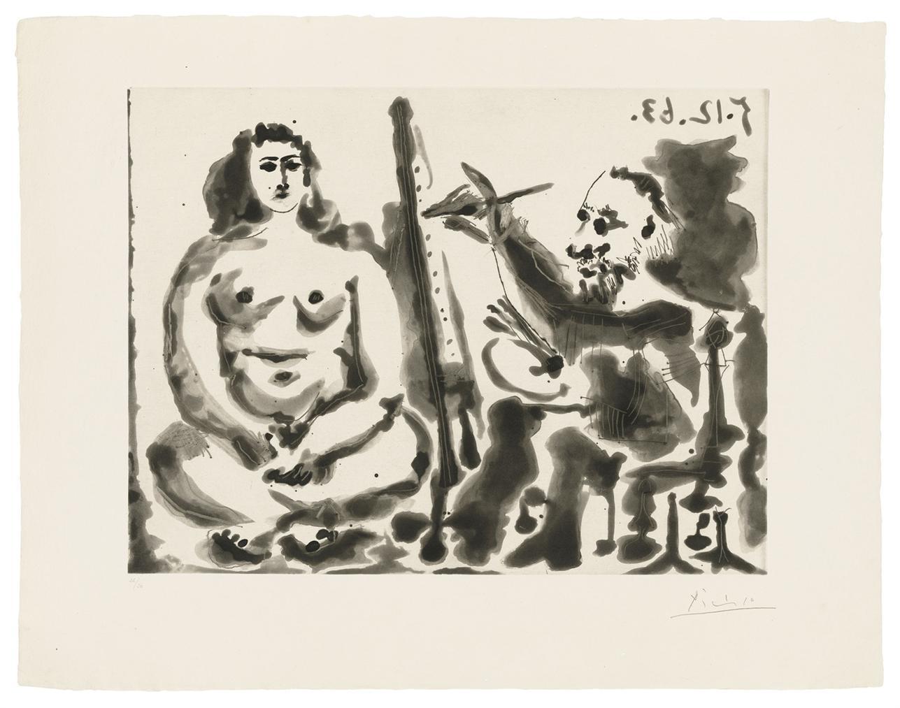 Pablo Picasso-Peintre Et Modele IV-1963