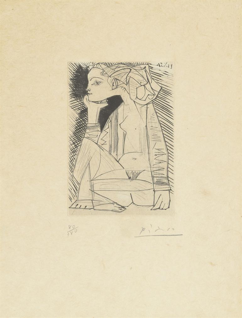 Pablo Picasso-Femme Assise En Tailleur: Genevieve Laporte-1951