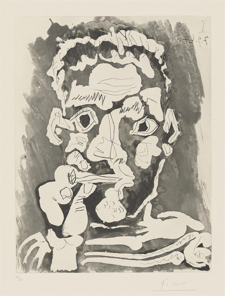Pablo Picasso-Fumeur-1964