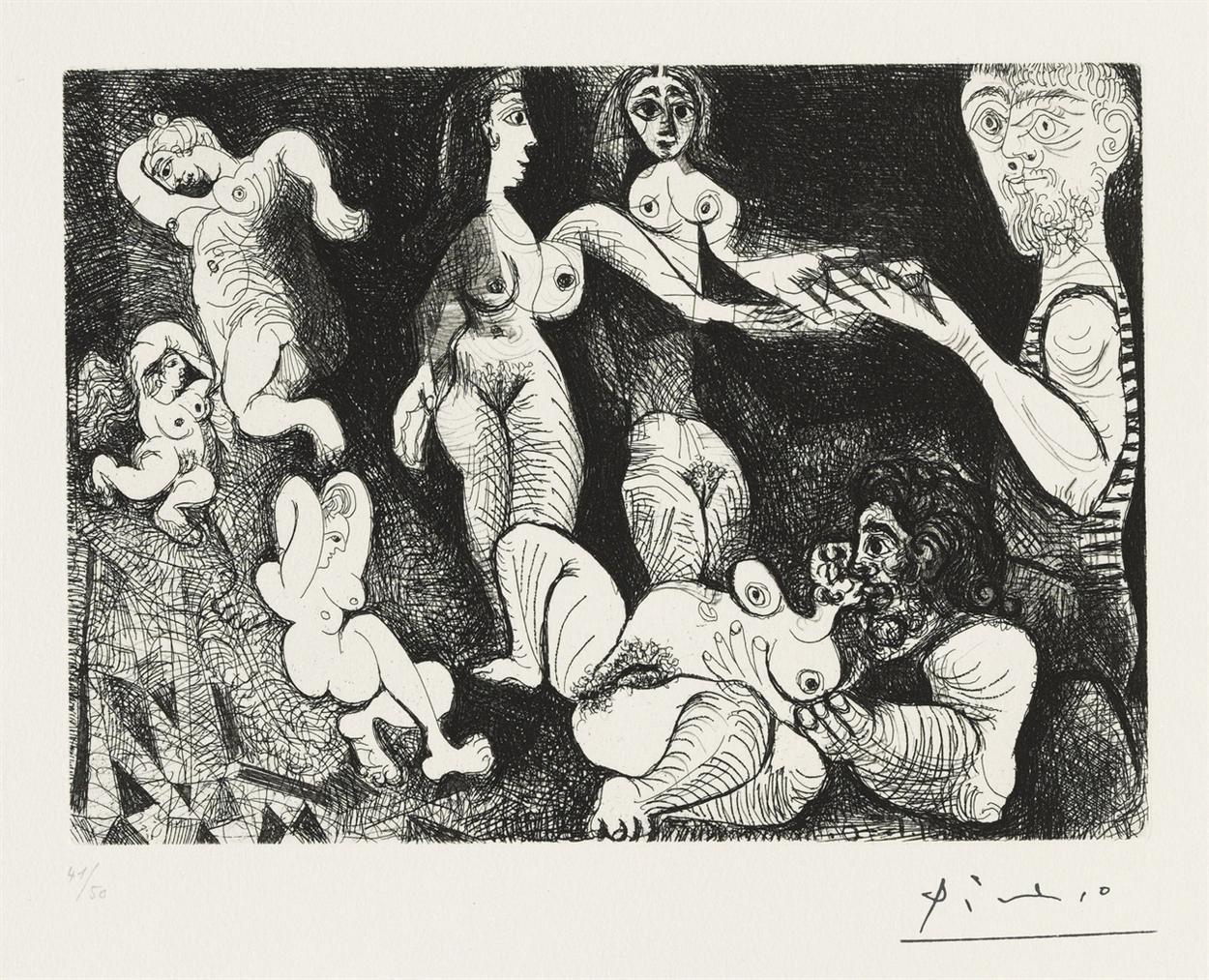 Pablo Picasso-Marin Reveur Avec Deux Femmes, From: Series 156-1970