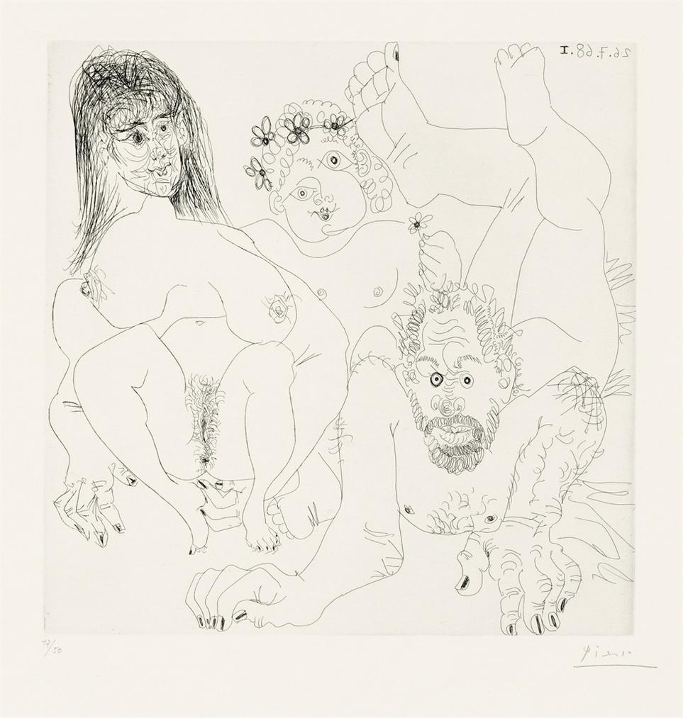 Pablo Picasso-Couple Aux Champ, Avec Un Putto Couronne De Fleurs, From: Series 347-1968