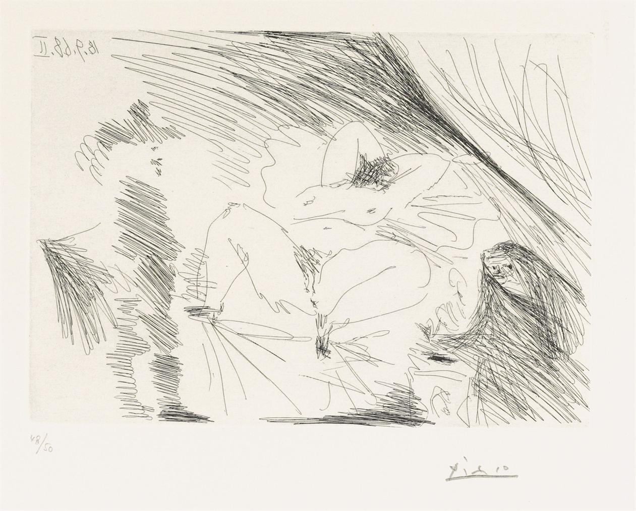 Pablo Picasso-Jeune Femme Au Lit, Celestine Et Gentilhomme, From: Series 347-1968