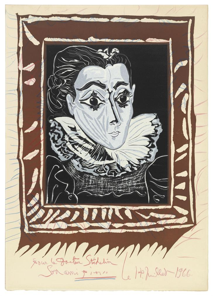 Pablo Picasso-La Dame A La Collerette (Portrait De Jacqueline A La Fraise)-1963
