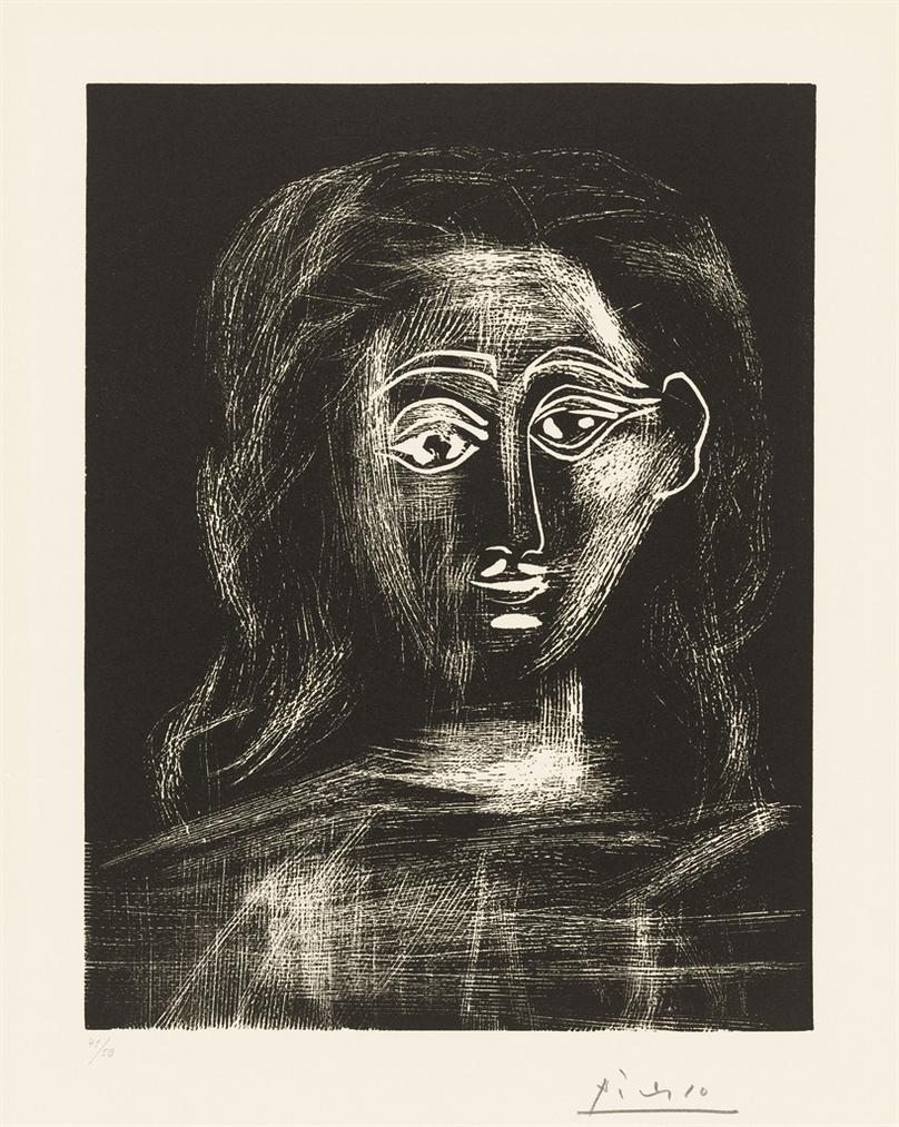 Pablo Picasso-Jacqueline Aux Cheveux Flous, En Buste-1962