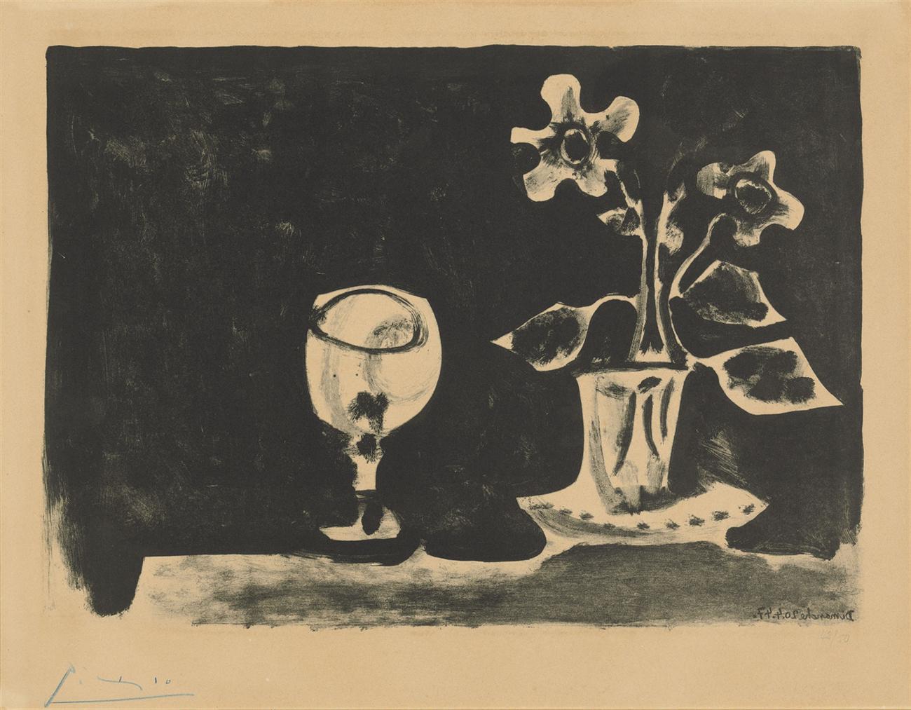 Pablo Picasso-Nature Morte Au Verre Et Fleurs-1947