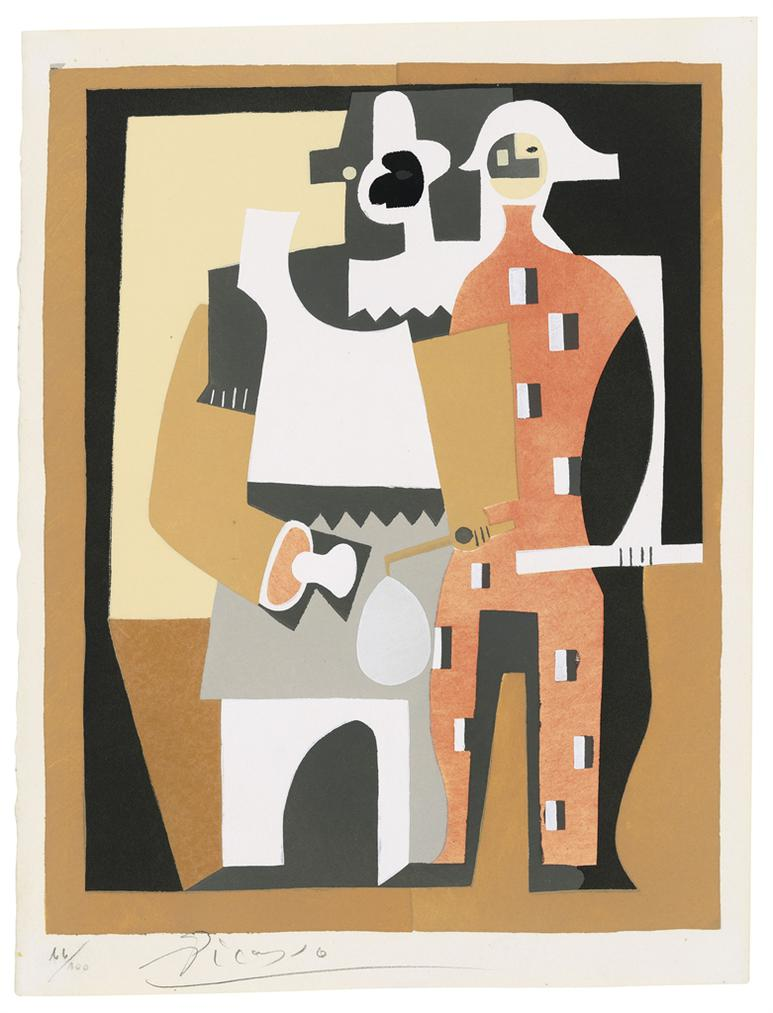 Pablo Picasso-After Pablo Picasso - Pierrot Et Arlequin, From: Dix Pochoirs-1920
