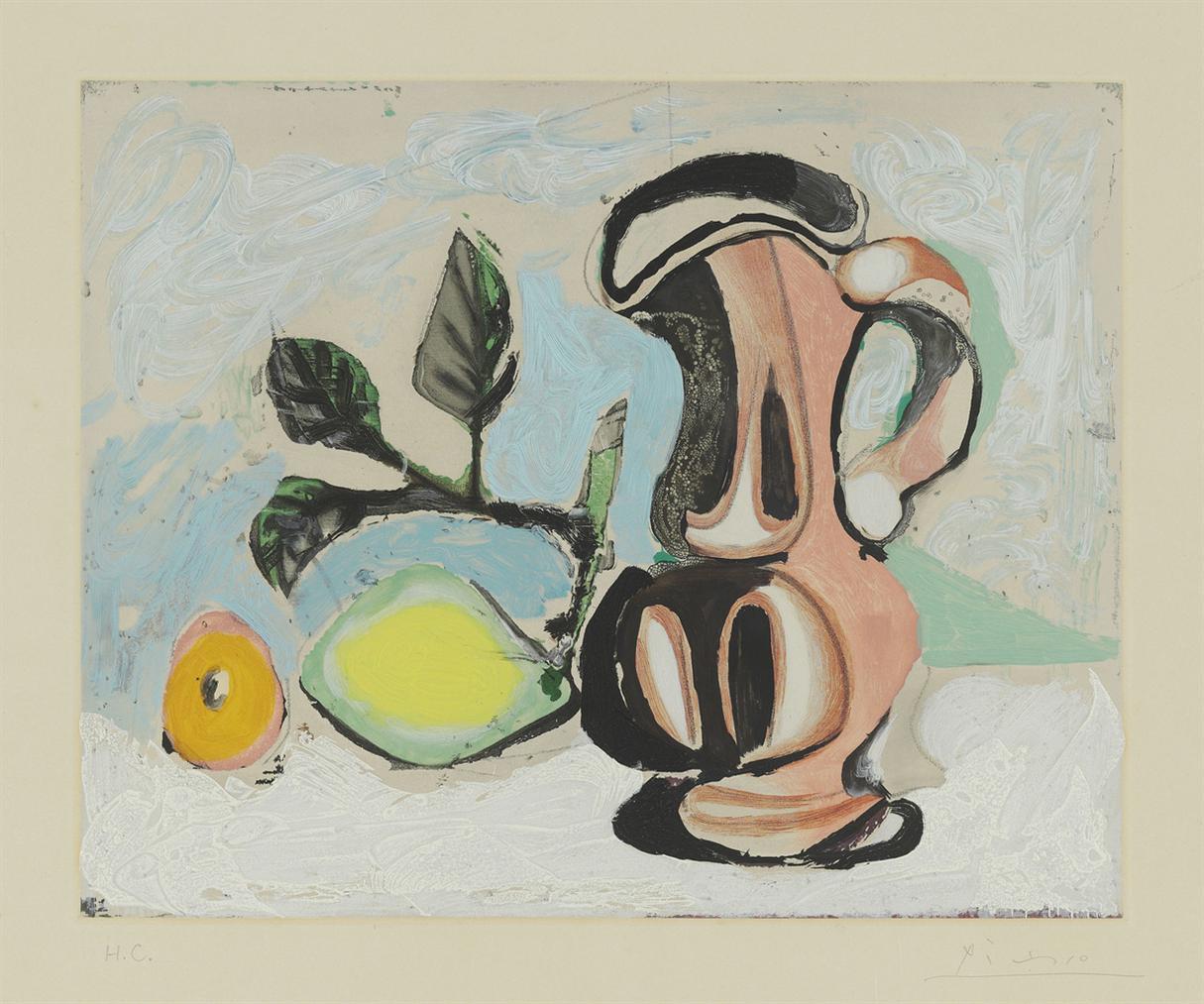 Pablo Picasso-After Pablo Picasso - Nature Morte Au Citron Et Pichet Rouge-1955