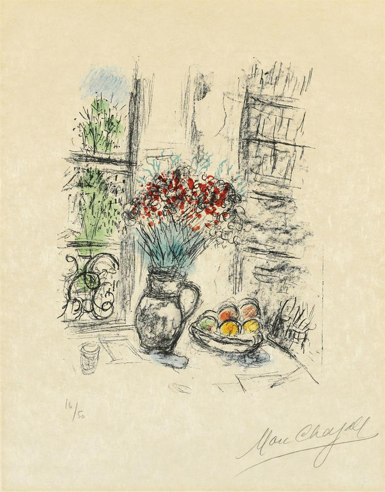 Marc Chagall-Les Roses Pompon-1974