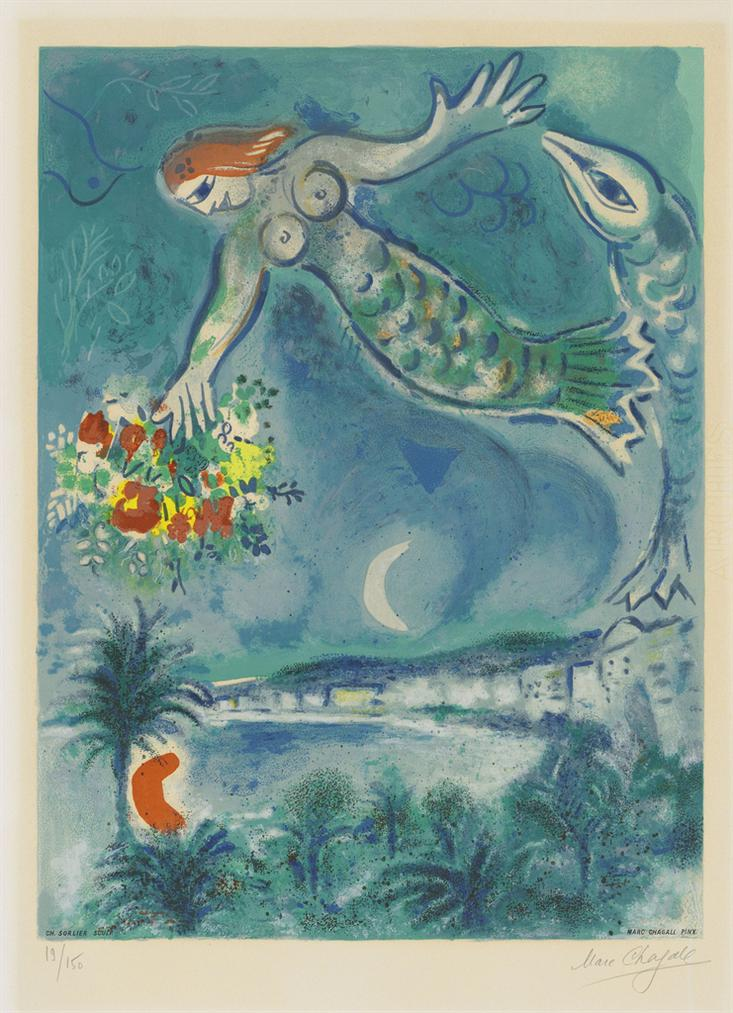 Marc Chagall-After Marc Chagall - Sirene Et Poisson, From: Nice And The Cote Dazur-1967