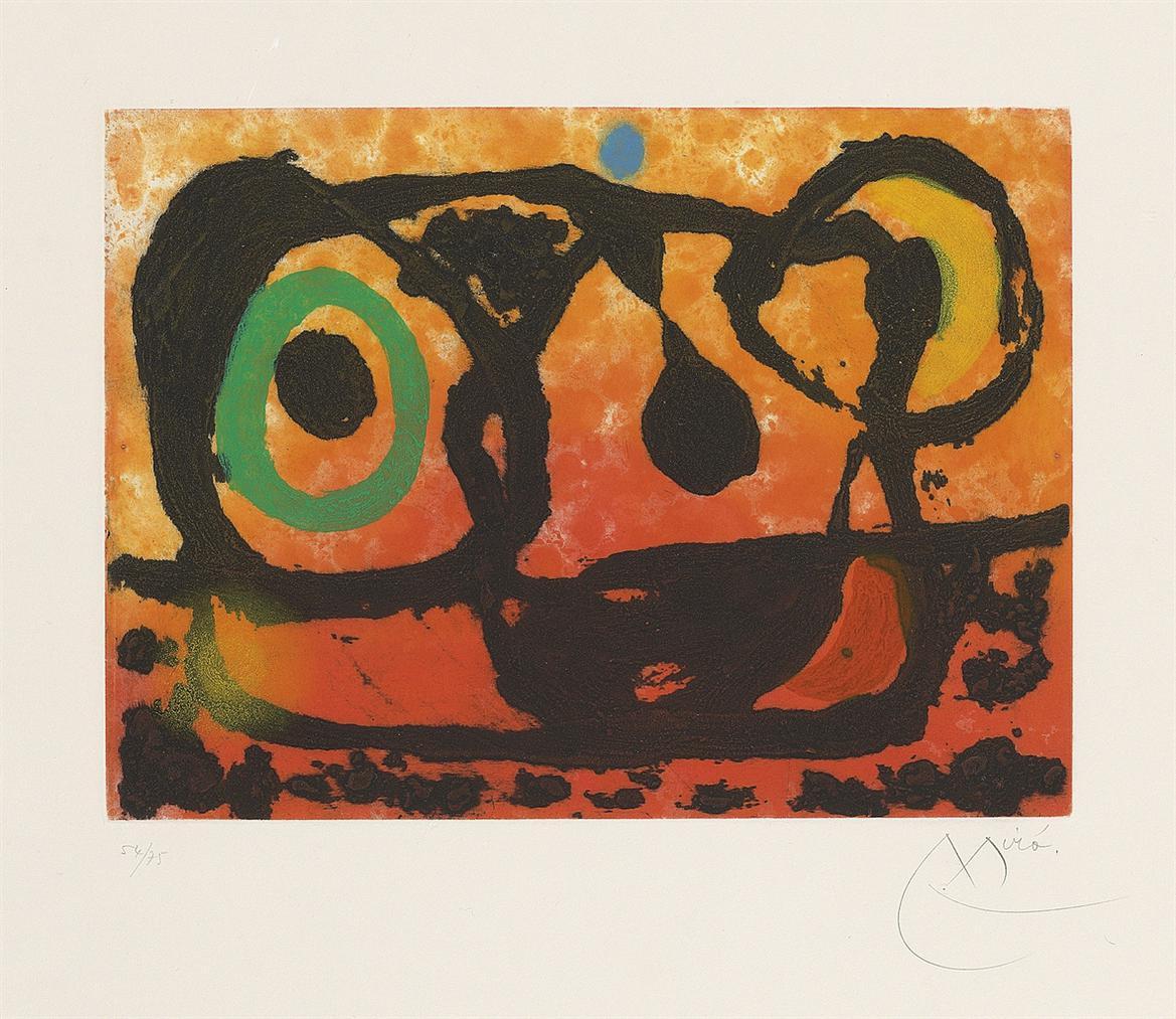Joan Miro-Tete Au Soleil Couchant-1967