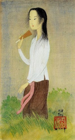 Mai Trung Thu-Jeune Fille A Leventail (Young Girl With A Fan)-1956
