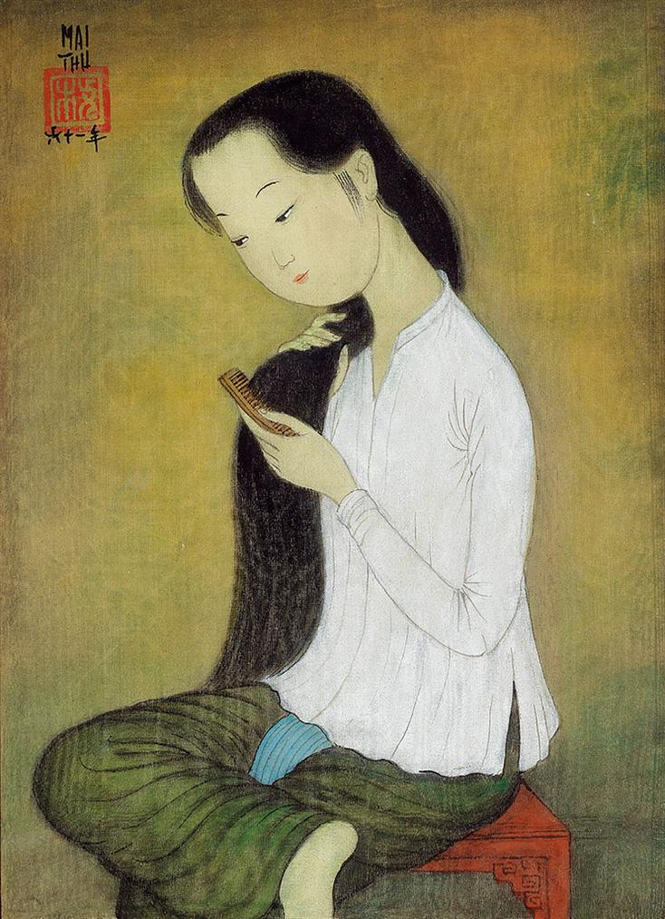 Mai Trung Thu-Jeune Fille Peignant Les Cheveux (Young Girl Combing Hair)-1961