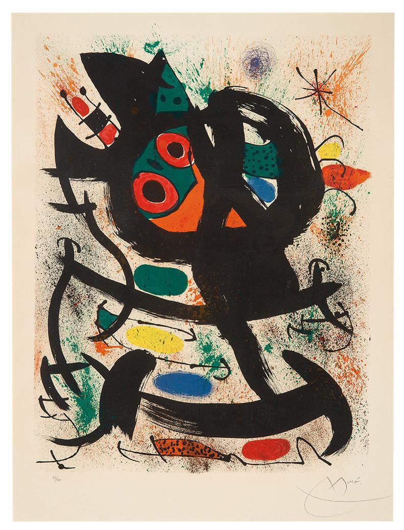 Joan Miro-Lithograph (For Pasadena Art Museum)-1969