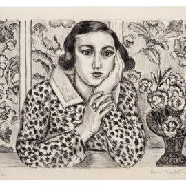 Henri Matisse-Figure Accoudee Devant Paravent Fleuri-1923