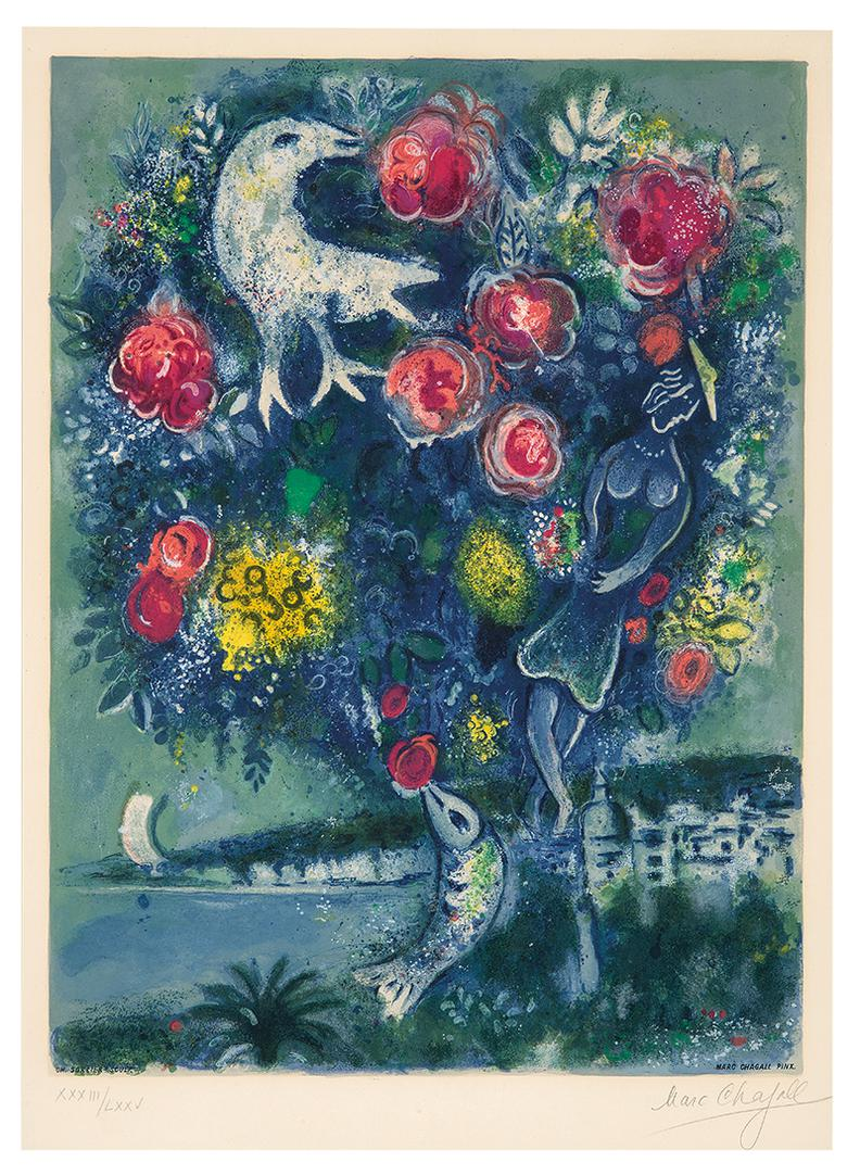 Marc Chagall-After Marc Chagall - La Baie Des Anges Au Bouquet De Roses (From Nice Et La Cote Dazur)-1967