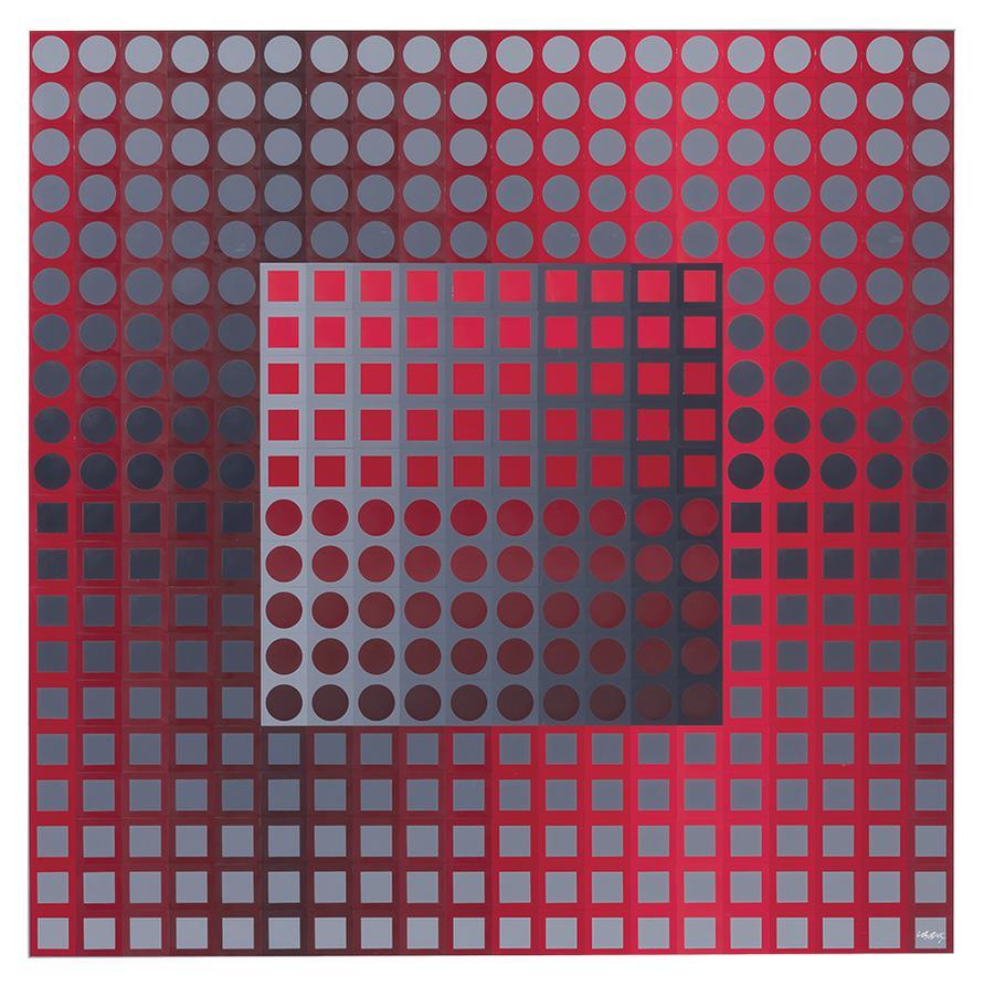 Victor Vasarely-Kanta Zett Red/Grey-1971