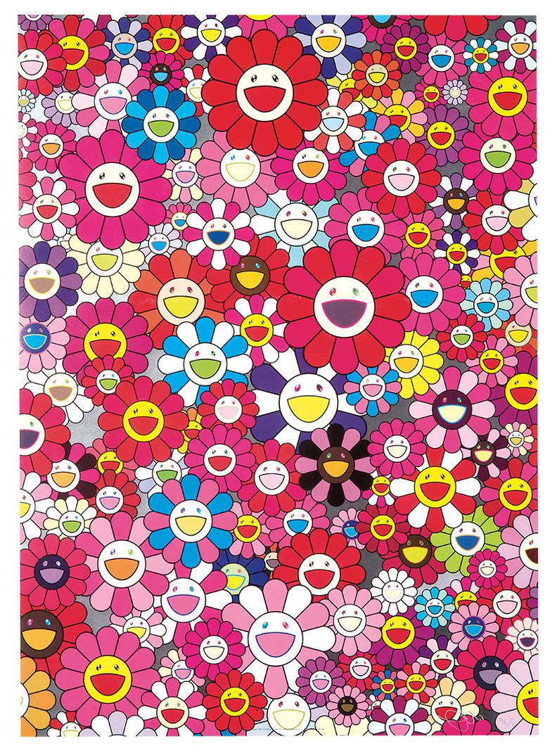 Takashi Murakami-Group (4) Comprised of A: An Homage to Monogold 1960 C; B: An Homage to Monopink 1960 C; C: An Homage to Yves Klein Multicolor C; and D: An Homage to IKB 1957 C-2012