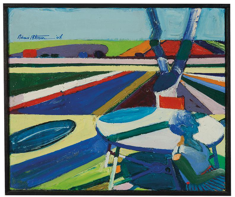 Roland Petersen-Girl With Picnic Table And Fields-1968