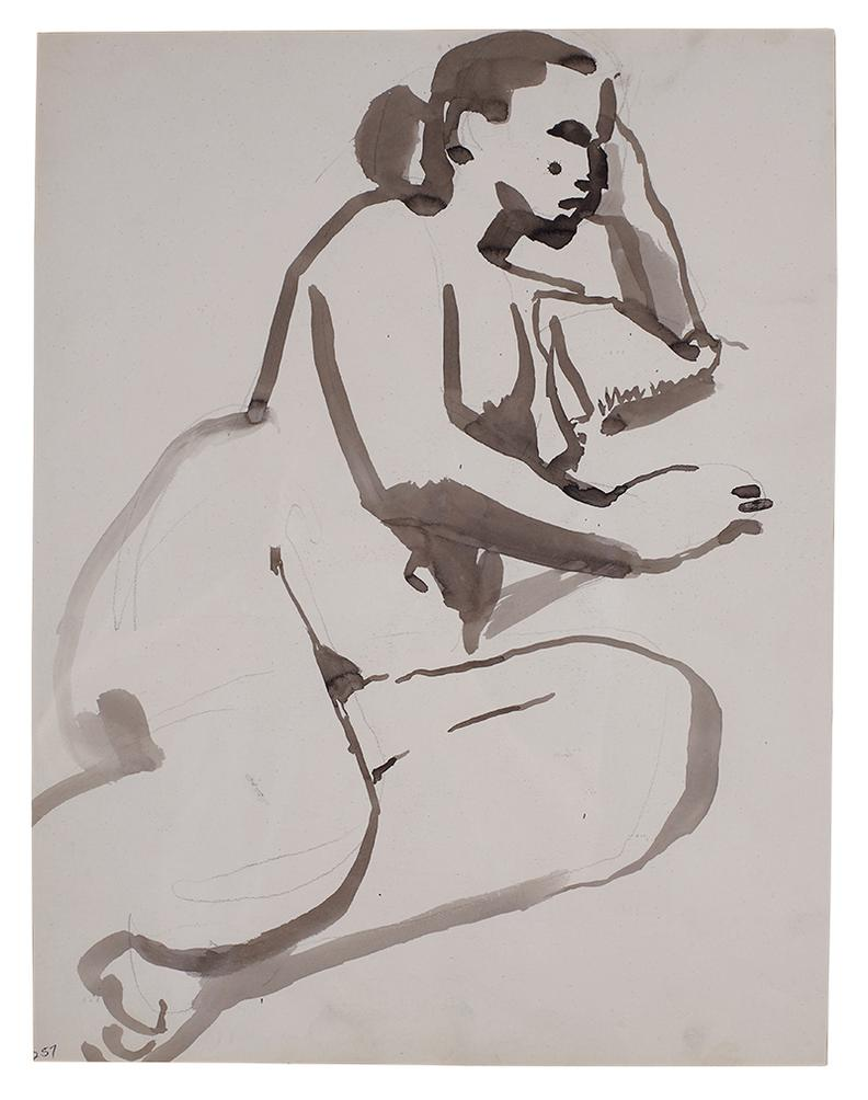 David Park-Nude Resting On Side (#257)-1955
