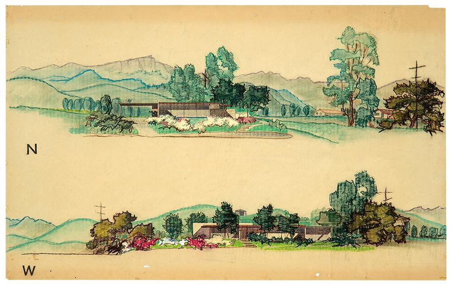 Richard Neutra - Elevation Drawings Of The Mcsorley House (3)-1959