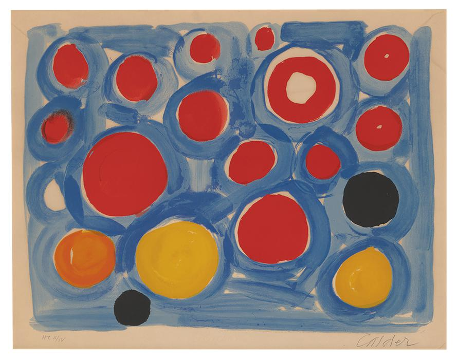 Alexander Calder-Untitled (Blue Background With Red, Yellow, And Black Circles)-1969