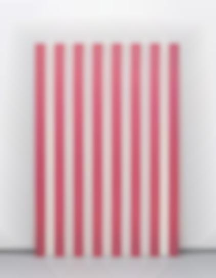 Daniel Buren-Peinture Acrylique Sur Tissu Raye Blanc Et Rouge-1972