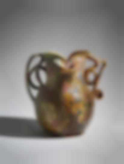 George Ohr - Mottled Two-Sided, Two-Handled Vase-1895