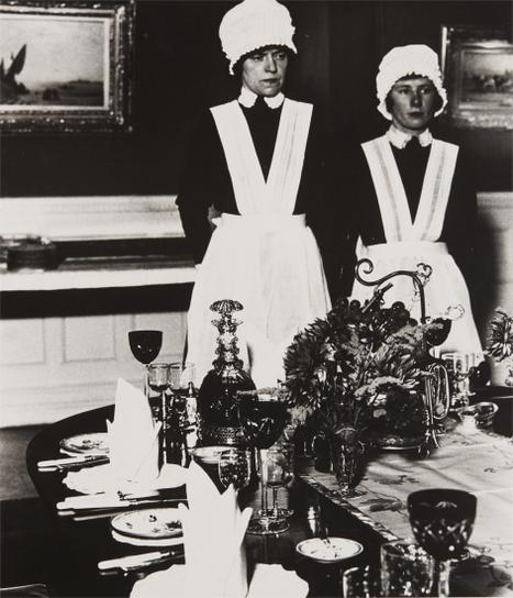 Bill Brandt-Parlourmaid And Under-Parlourmaid Ready To Serve Dinner-1936